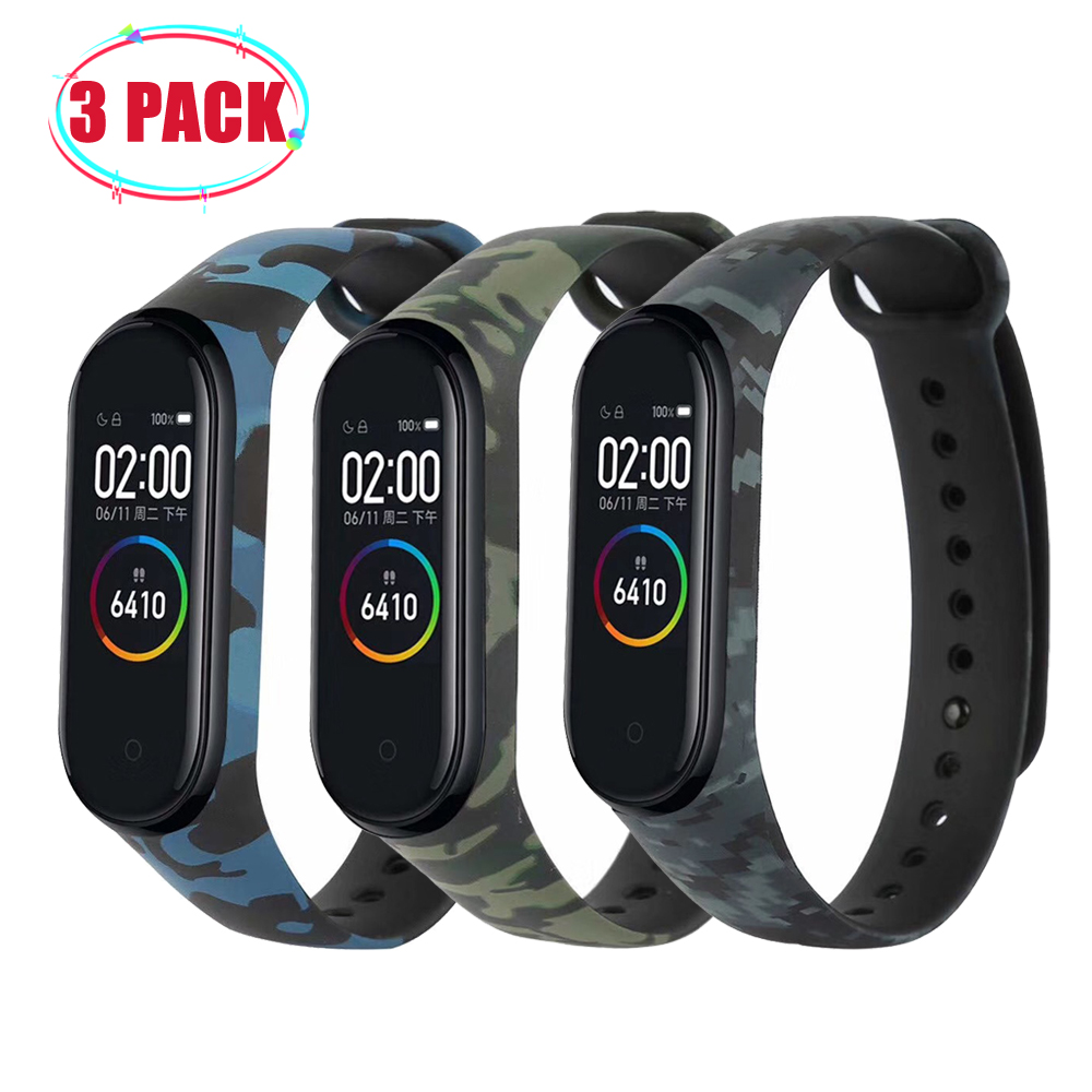 3Pcs/Pack Camouflage Strap Mi Band 4 MiBnad 3 Bracelet For Xiaomi Mi Band 4 3 Strap Silicone WristBand Miband 4 3 Accessories