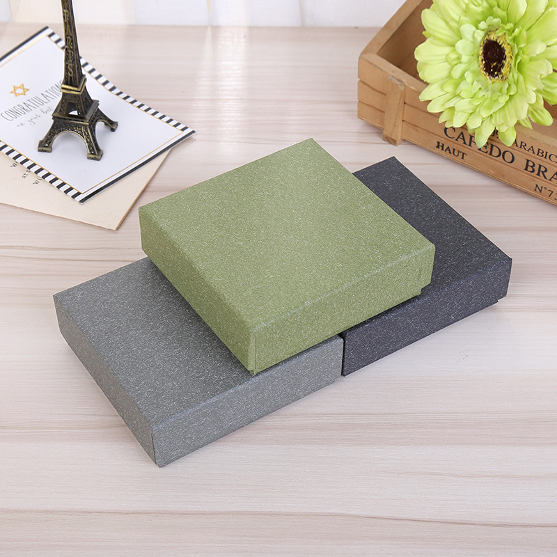 DoreenBeads Jewelry Boxes Paper Gift Box Vintage Green Grey Black Ring Box Necklace Box 9*9*3cm Multicolor Simple Style1 Piece