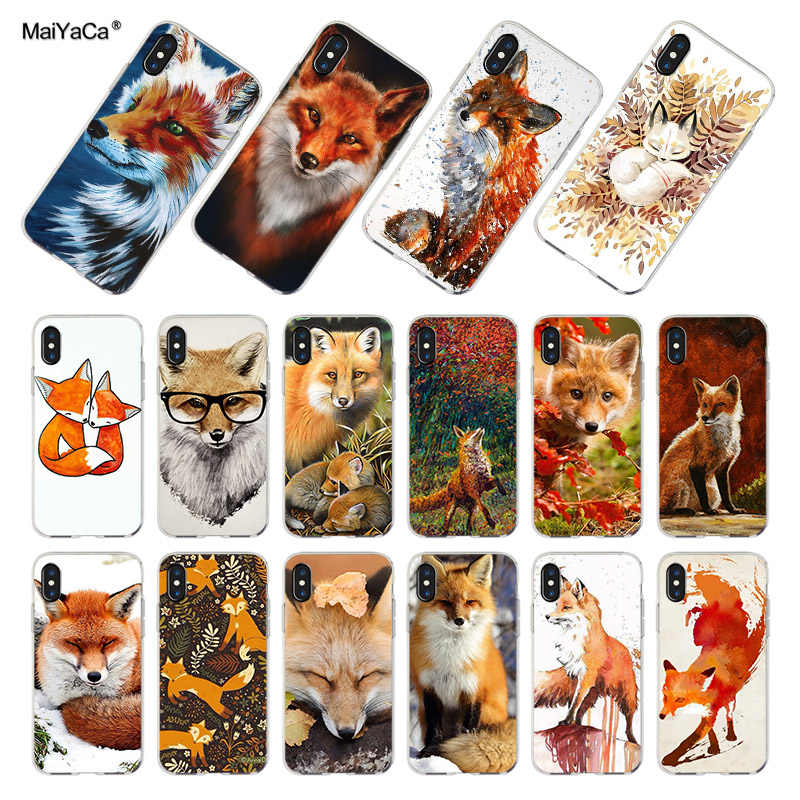 MaiYaCa For iphone 7 6 X Case Cute Fox In Autumn leaves forest Transparent Soft Phone Case For iPhone XS XR 6 6s 7 7plus case