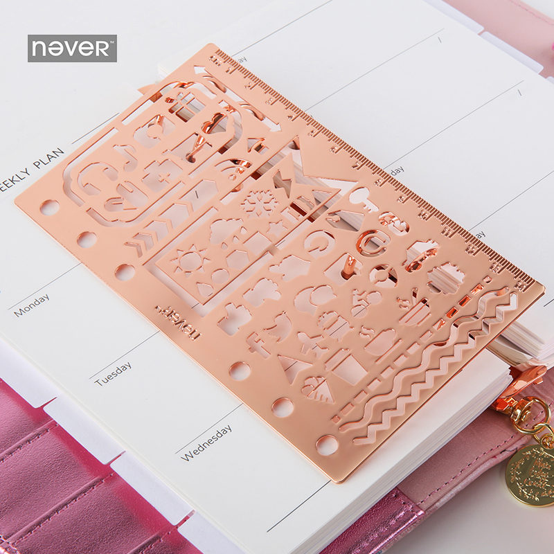NEVER Stationery Planner Stencils Ruler Notebook Diary Multi-function Stainless Steel Ruler For Graffiti Drawing School Supplies