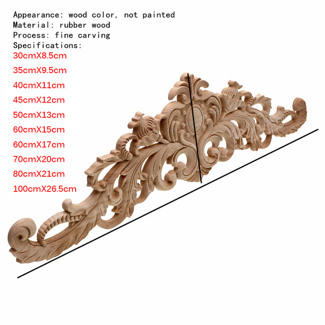 RUNBAZEF European Style Real Wood Long Floral Carving Applique Home Decoration Accessories Door Cabinet Furniture Figurines 2