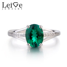 Leige Jewelry Lab Emerald Ring Oval Cut Green Gemstone May Birthstone Engagement Ring 925 Sterling Silver Ring Jewelry for Women