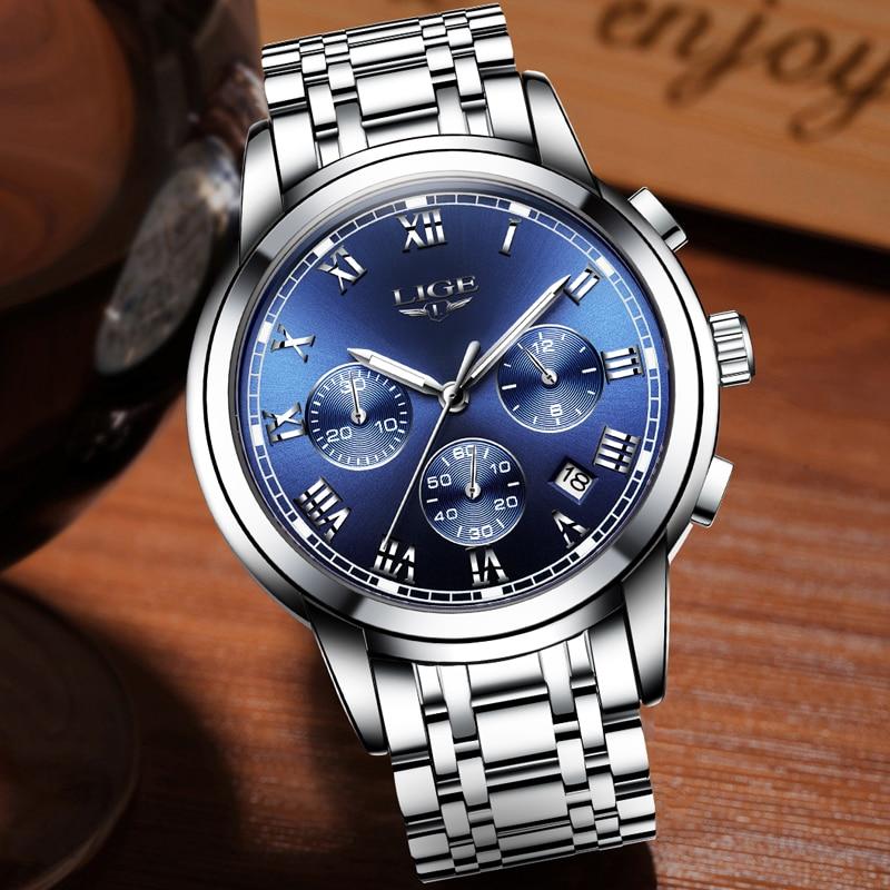 2020 nowe zegarki mężczyźni luksusowa marka LIGE Chronograph mężczyźni sport zegarki wodoodporny pełny stalowy zegarek kwarcowy męski Relogio Masculino 4
