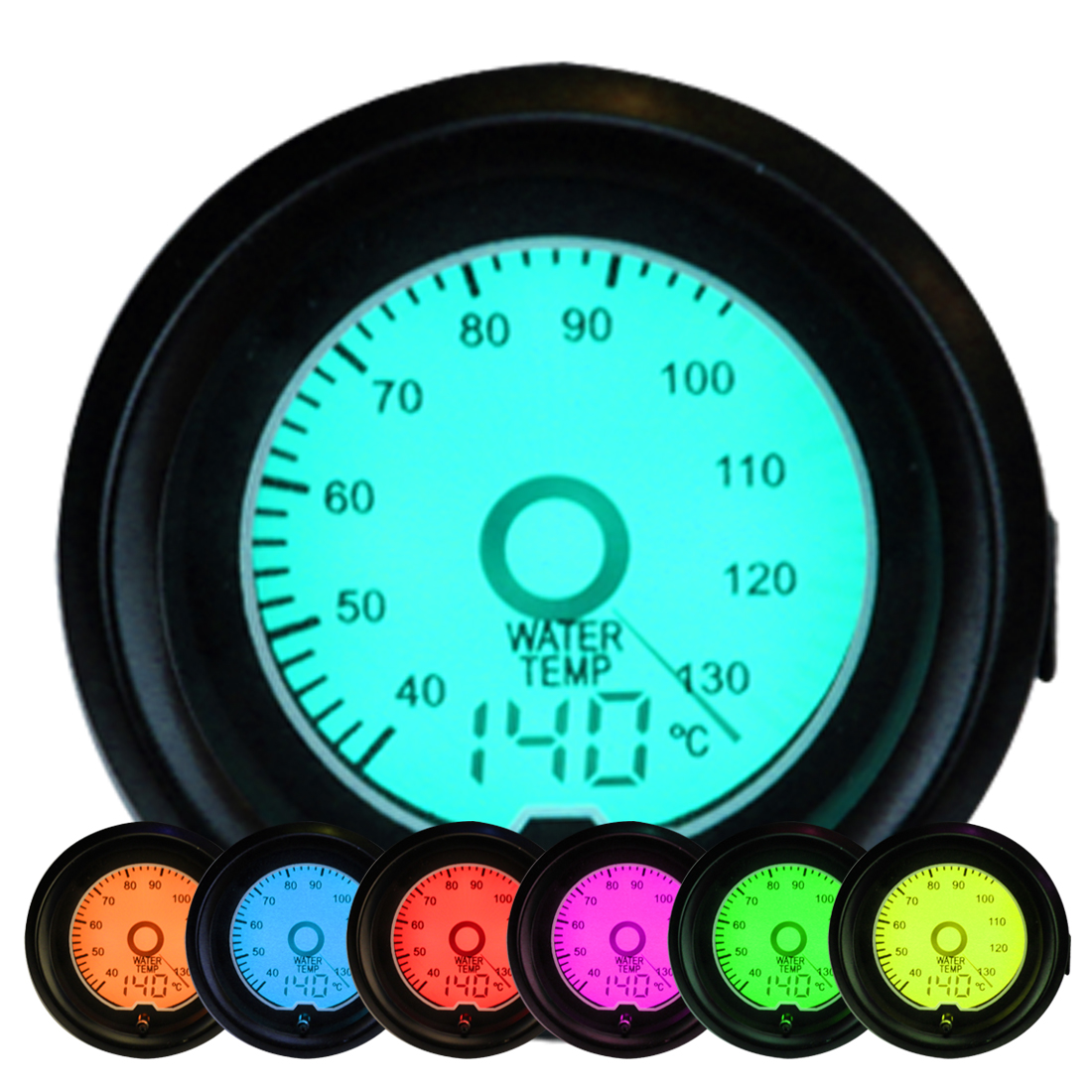 Car Gauge 52mm 2'' Water Temp Gauge 40~140 Centigrade Temperature 12V Vehicle Meter 7 Colors LED Backlit with Sensor цена 2017