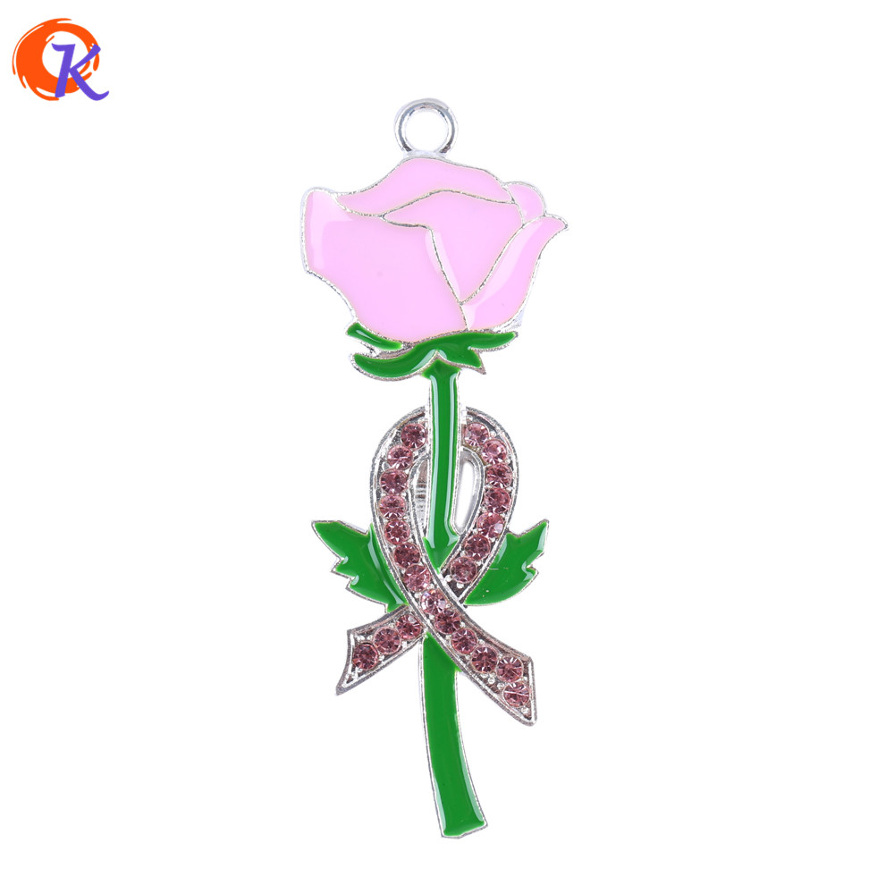 57*23MM 10Pcs/Lot Fashion Pendant Jewelry Breast Cancer Necklace Pink Rose Necklace Enamel Pendants Charms Kids Gift Jewelry