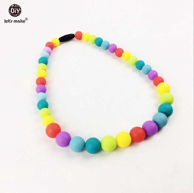 color silicone beads nursing necklace chew silicone beads  teether necklace nurse charms decorative for baby/mom