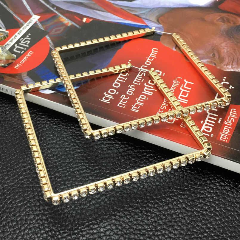 f7b6658340 MANILAI Luxury 80mm Square Metal Big Hoop Earrings Statement Jewelry  Rhinestones Earrings For Women Wedding Jewelry Brincos 2018