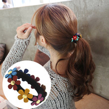 Aikelina 2017 New Fahsion Cartoon Rivet Flowers Hair Accessories Girl Women Headwear Rubber Bands Tie Gum Free Shipping(China)