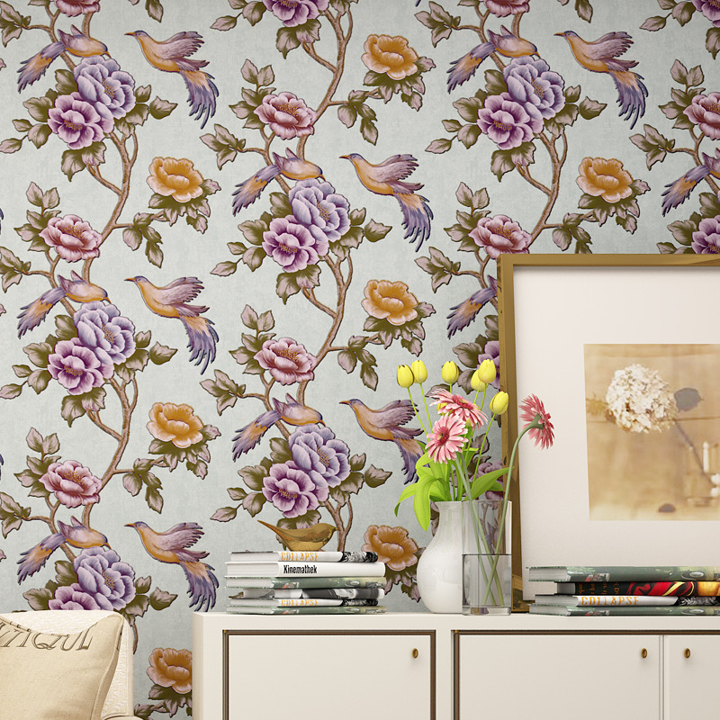 Beibehang Retro 3D stereo flowers and birds high quality home decoration 3D wallpaper hotel design background wallpaper the hermitage birds and flowers