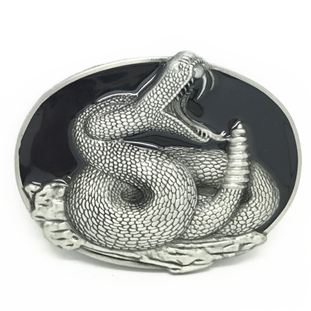 Western Cowboy Belt Buckles Animal Snake Grain Casual Man's Smooth Belt Buckle Is Suitable For The 4.0 Belt