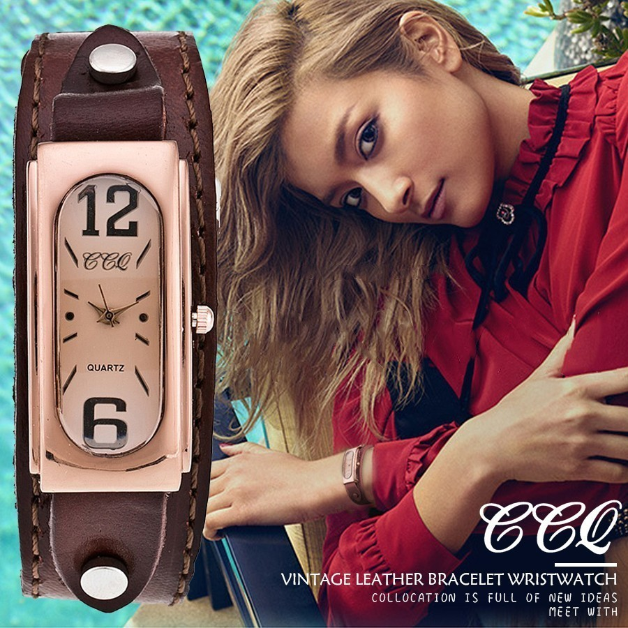 CCQ Brand Women Genuine Leather Strap Analog Quartz Watches Fashion Casual Ladies Wrist Watch Gift Relogio Feminino Hot Selling