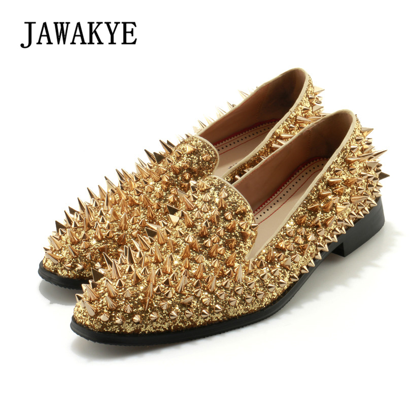JAWAKYE Brand Gold Spike rivets Men shoes Leather luxury Bling Dress Wedding Shoes for men slip on Casual Men Loafers Shoes newest men luxury shinny glitter gold and silver spikes shoes slip on loafers rivets men casual shoes 2017 leather shoe berdecia