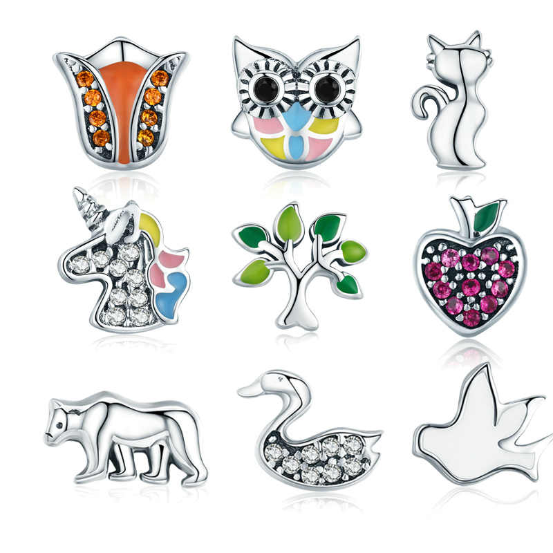 WOSTU חדש סגנון 925 סטרלינג כסף Licorne, ינשוף, חתול, עץ של חיים Petites קסם Fit מקורי צף שרשרת DIY תכשיטים