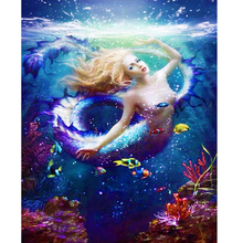 5d Diy Diamond Painting Embroidery Mermaid Jewelry Square Mosaic Floral Icon for Paintings