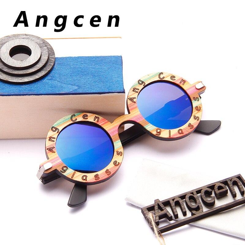 Angcen Mode Design Kinder Sonnenbrille Kinder Polarisierte Jungen Mädchen Holz Rahmen Sonnenbrille Runde Brillen Goggle Mit Niedlichen Fall