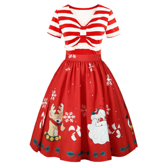 f38a40fd22553 Women Christmas dress Elegant Floral Lace Vintage Tea Hepburn red and white  Striped Ball Gown V-neck Sexy Party Dress vestidos