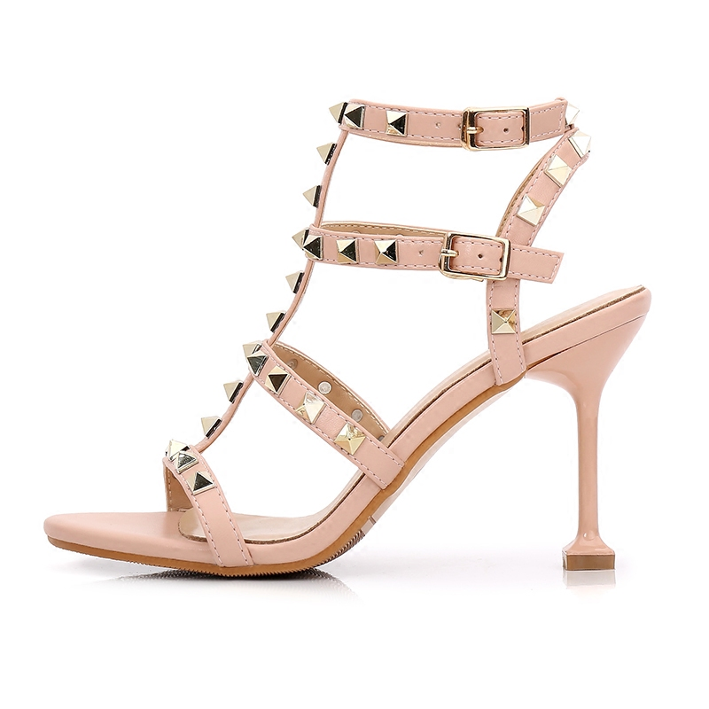 New Newest Rivets Studded High Heel Sandal for Woman 2018 Summer Sexy Open Toe T-strap Gladiator Shoe Rome Style Spikes Heels new woman platform high heel sandal 2018 summer rivets studded gladiator shoes sexy open toe wedge sandal silver gold