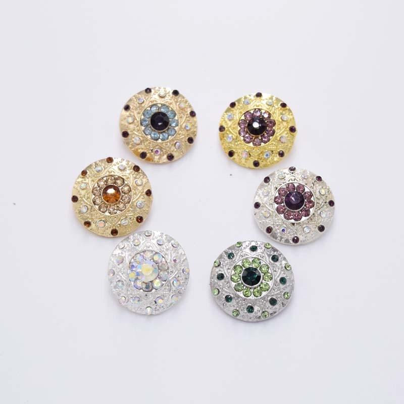 DIY 20 штук шить на круглой формы со стразами сплав Boutons аппликация 20 мм цвета: золотистый, серебристый свадебное платье одежда рубашка аксессуар HK-97