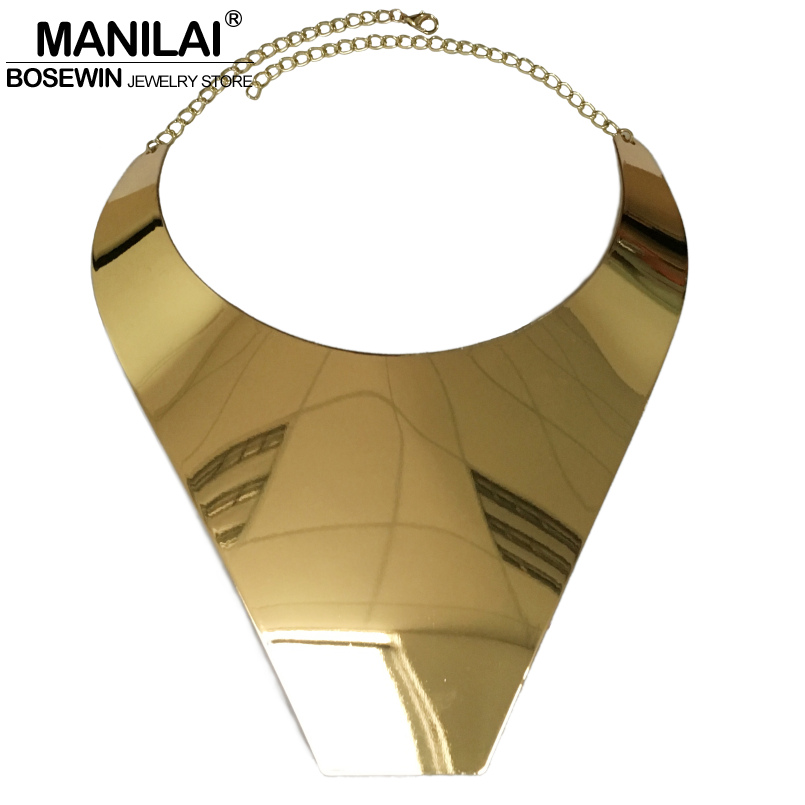 MANILAI Big Collar Choker Necklace For Women Fashion Wide Alloy Geometric Statement Necklaces Maxi Jewelry Golden Silver Colors chic multilayered geometric bullets choker page 4