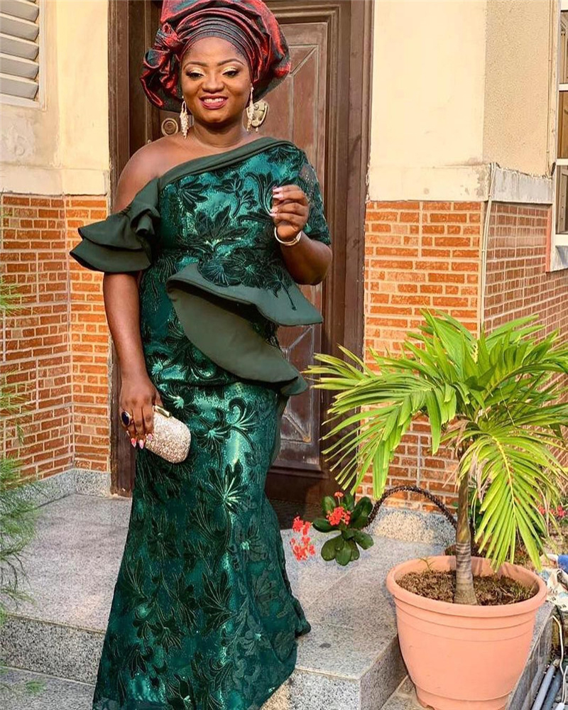 Latest Green African Lace Fabric with Sequins Beads High Quality French Sequins Net Lace for Wedding