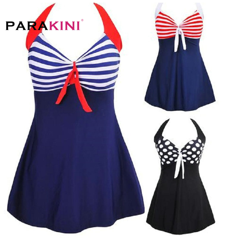 PARAKINI Women One Piece Swimsuit Dress 2018 Sexy Stripe Padded Halter Swimwear Skirt Beachwear Bathing Suit Plus Large Size 3XL sexy plus size skirt swimwear women one piece suits swimsuit beachwear bathing suit swimwear dress 4xl to 8xl