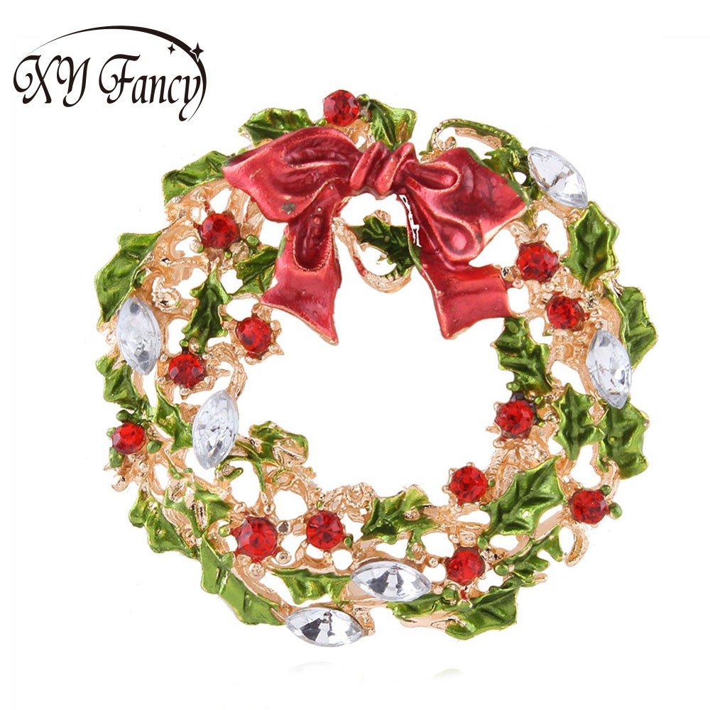 Xy Fancy Gold Color Multicolor Leaf Flower And Bow Wreath Brooch