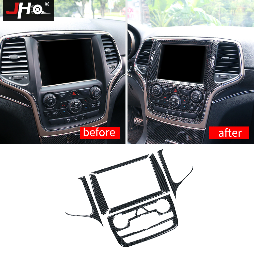 JHO Center Console Navigation Carbon Fiber Interior Trim Frame Cover For Jeep Grand Cherokee 2014 2015 2016 2017 Car Accessories jho abs chrome inner door bowl wrist handle cover trim for jeep grand cherokee 2014 2015 2016 2017 2018 car interior decors