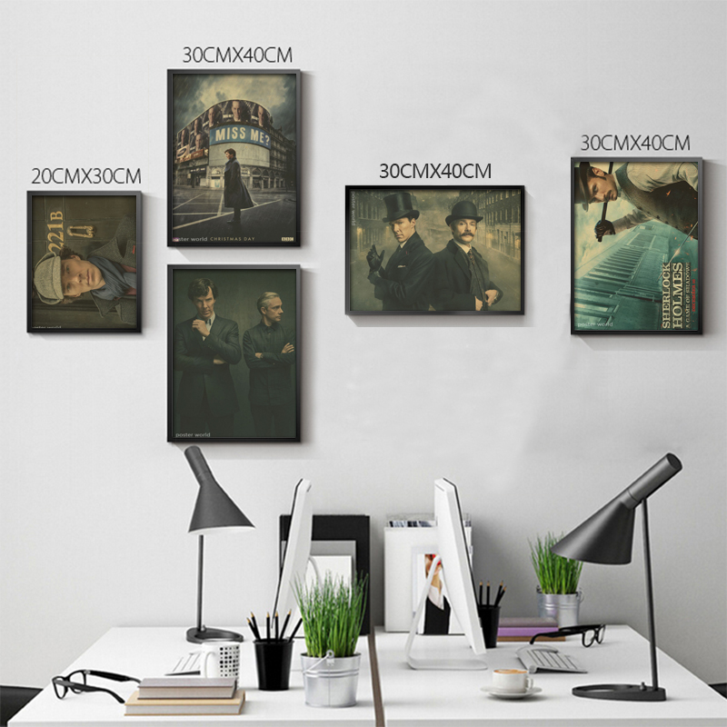 Wall sticker Sherlock Holmes vintage poster retro Benedict Cumberbatch posters episodes wall stickers home decor