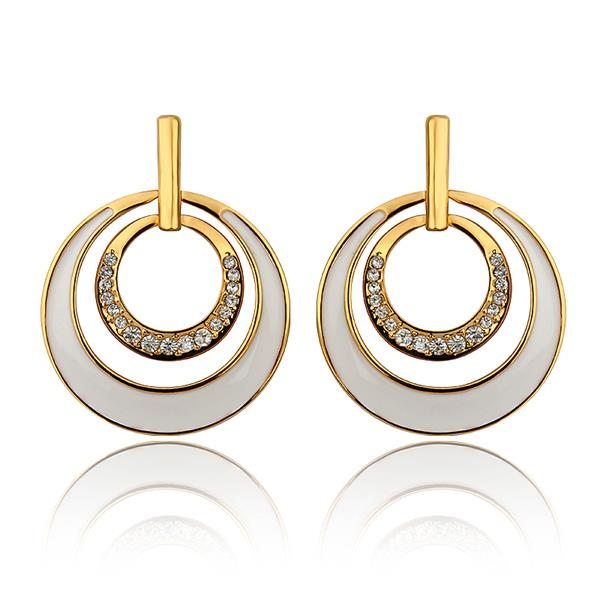 18k Gold Earrings Baby Platinum Plated White Double Circles 882 For Kids 83407 Aaaaaa In Stud From Jewelry Accessories