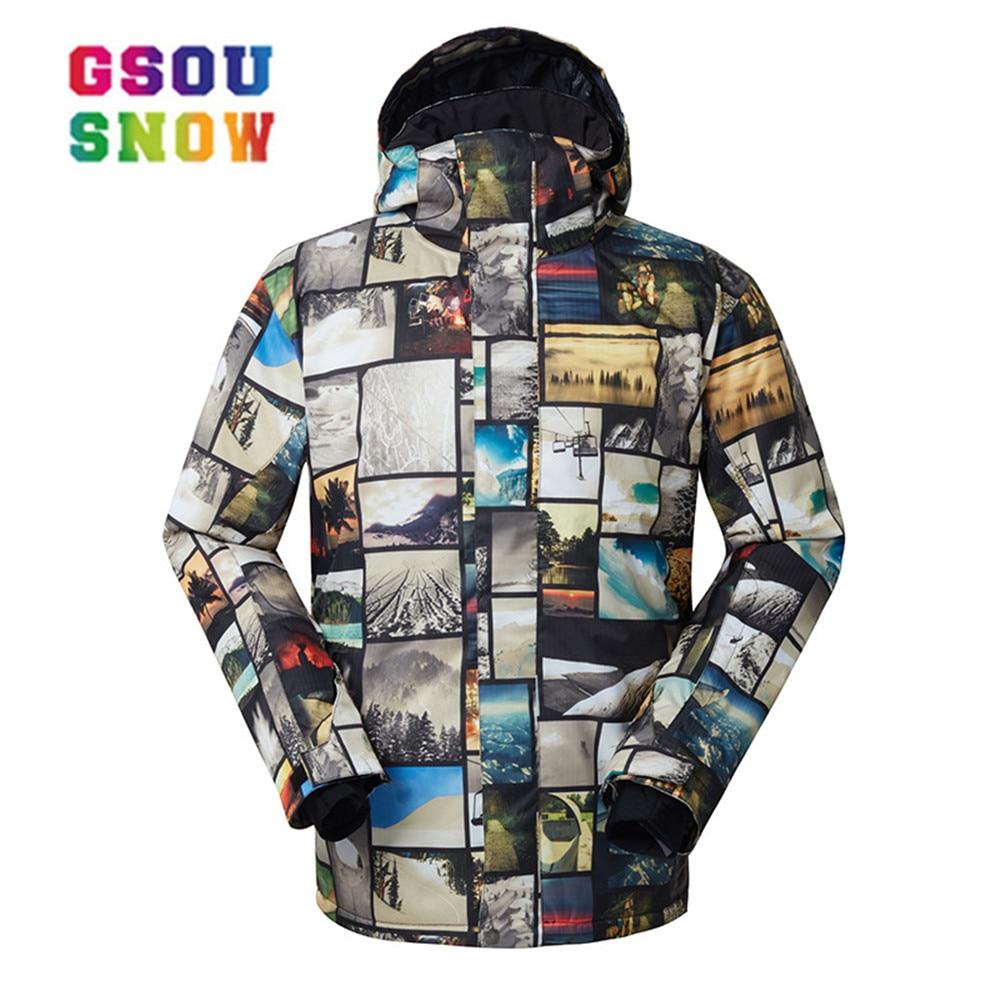 GSOU neige hommes veste de ski imperméable respirant garçons veste de neige haut-q ski et snowboard veste chaude homme coupe-vent
