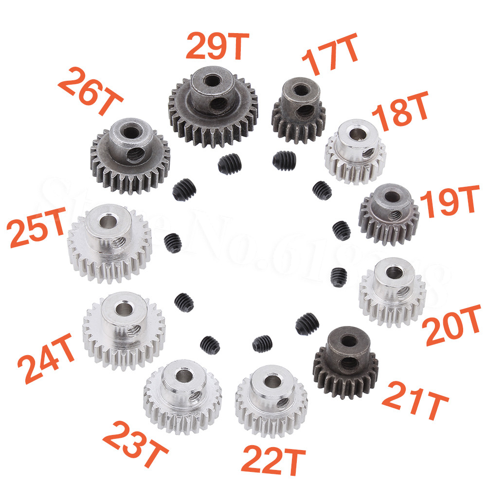 3.175mm Shaft Hole Metal 17T 18T 19T 20T 21T 22T 23T 24T 25T 26T 29T Motor Pinion Gears For RC Cars Scale Hobby Model
