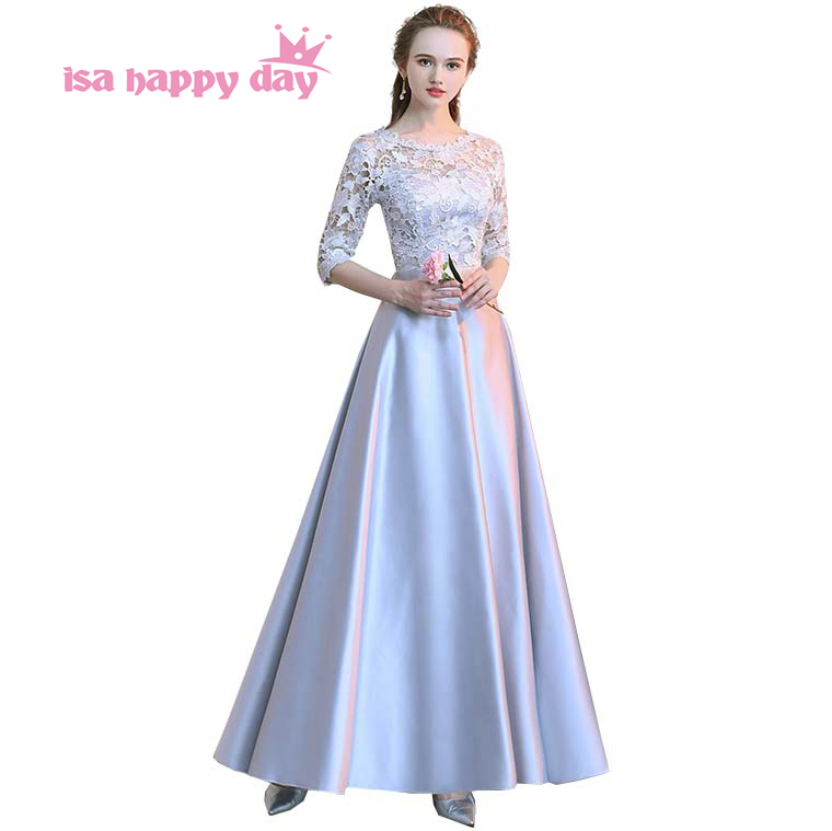 2018 women's elegant size satin long gray long o neck evening gown grey engagement dresses lace formal occasion dress H4178