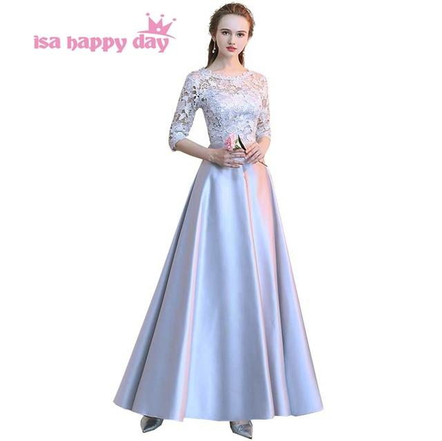 d6e060932e758 US $34.7  Aliexpress.com : Buy 2018 women's elegant size satin long gray  long o neck evening gown grey engagement dresses lace formal occasion dress  ...