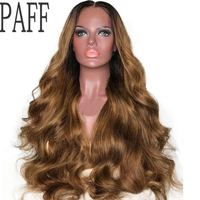 PAFF Two Tone Blonde Lace Front Wigs Human Hair Peruvian Virgin Hair Body Wave Wigs Pre Plucked Hairline Baby Hair For Women