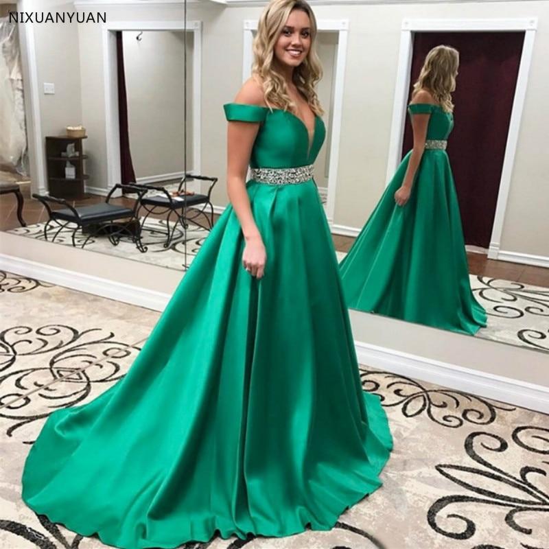 Elegant V Neck Long   Prom     Dresses   2019 Hunter Green Sweetheart Beading Belt Vintage Evening   Dress   Off Shoulder Formal Party Gowns