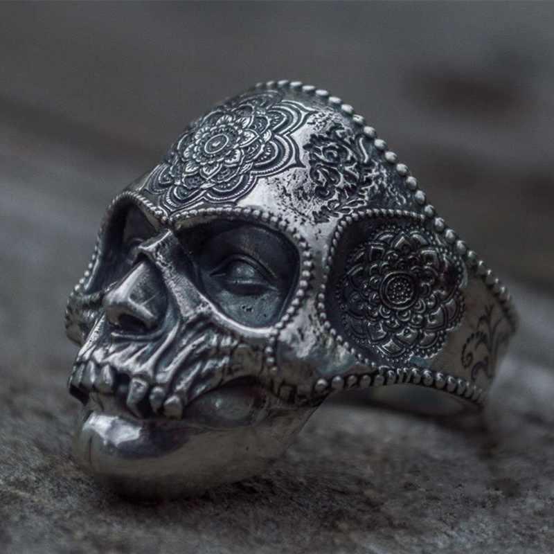 독특한 실버 컬러 316L 스테인레스 스틸 무거운 설탕 해골 반지 망 만다라 꽃 산타 Muerte 바이커 쥬얼리
