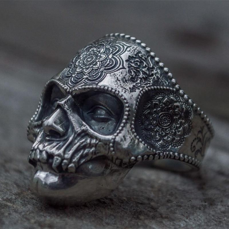 Unique Silver Color 316L Stainless Steel Heavy Sugar Skull Ring Mens Mandala Flower Santa Muerte Biker