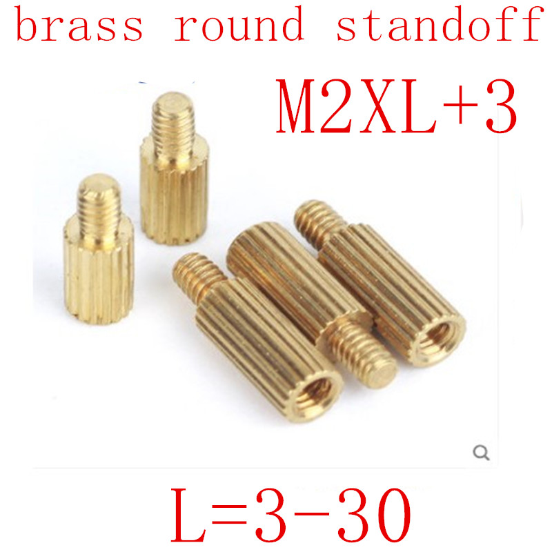 50pcs <font><b>M2</b></font>*L+3 L=3mm to <font><b>30mm</b></font> 2mm male to female thread Brass Round Standoff Spacer <font><b>M2</b></font> Brass Threaded Spacer image