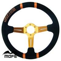 SPECIAL OFFER Original Logo 350mm 90mm Deep Corn Suede Leather Racing Sport Car Drifting Steering Wheel