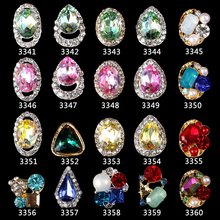 100Pcs/Lot Faceted Tear Drop Bling Clear Rhinestones Alloy Charms 3D Nail Art Crafts Jewelry DIY Design Decorations 11*9mm