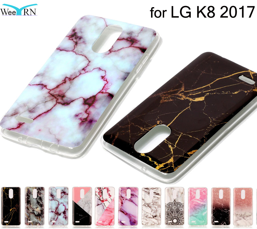 2017 Fashion Marble Style Case For LG K8 2017 Silicon Cover Stone Drawing Case Soft TPU Mobile Phone Cover for LG K8 2017 Coque
