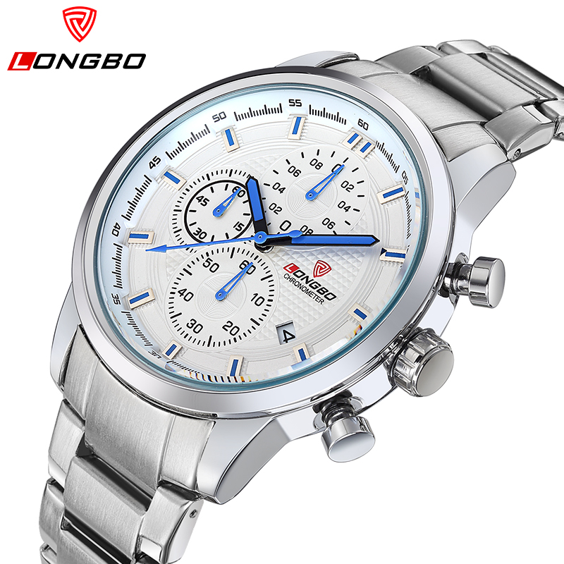 Fashion Original Luxury LONGBO Brand Men Watches Steel ATM Sport Watch Men Six-pin Date Quartz Watch Business Clock Reloj Mujer longbo men and women stainless steel watches luxury brand quartz wrist watches date business lover couple 30m waterproof watches
