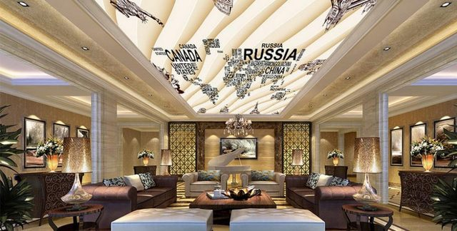 Online Shop Customize Wallpaper For Walls D Ceiling Wallpaper Hand - Floor to ceiling world map