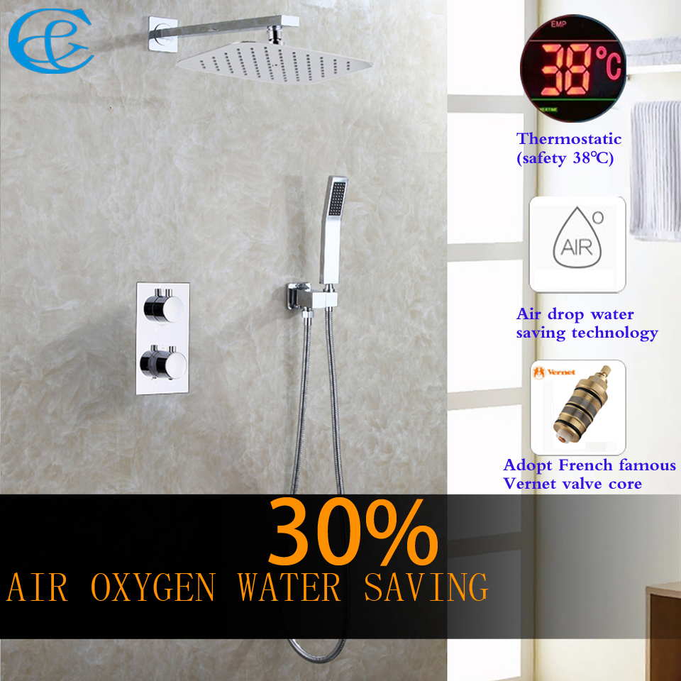 C&C Thermostatic Bathroom Shower Faucet Air Drop Water Saving Rain Shower Head All Metal Chrome Mixer Bath & Shower Set luxury high quality bathroom chrome rain shower set thermostatic shower faucet bath