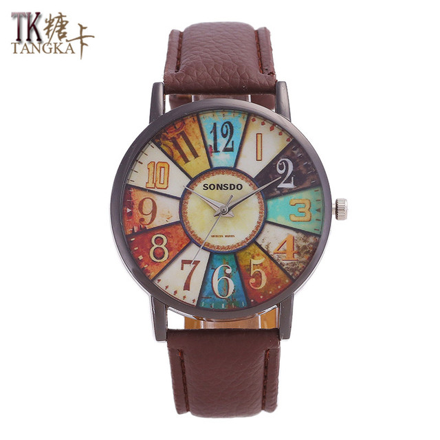 TANGKA new men and women leather watch steel ring retro digital pointer dial sol
