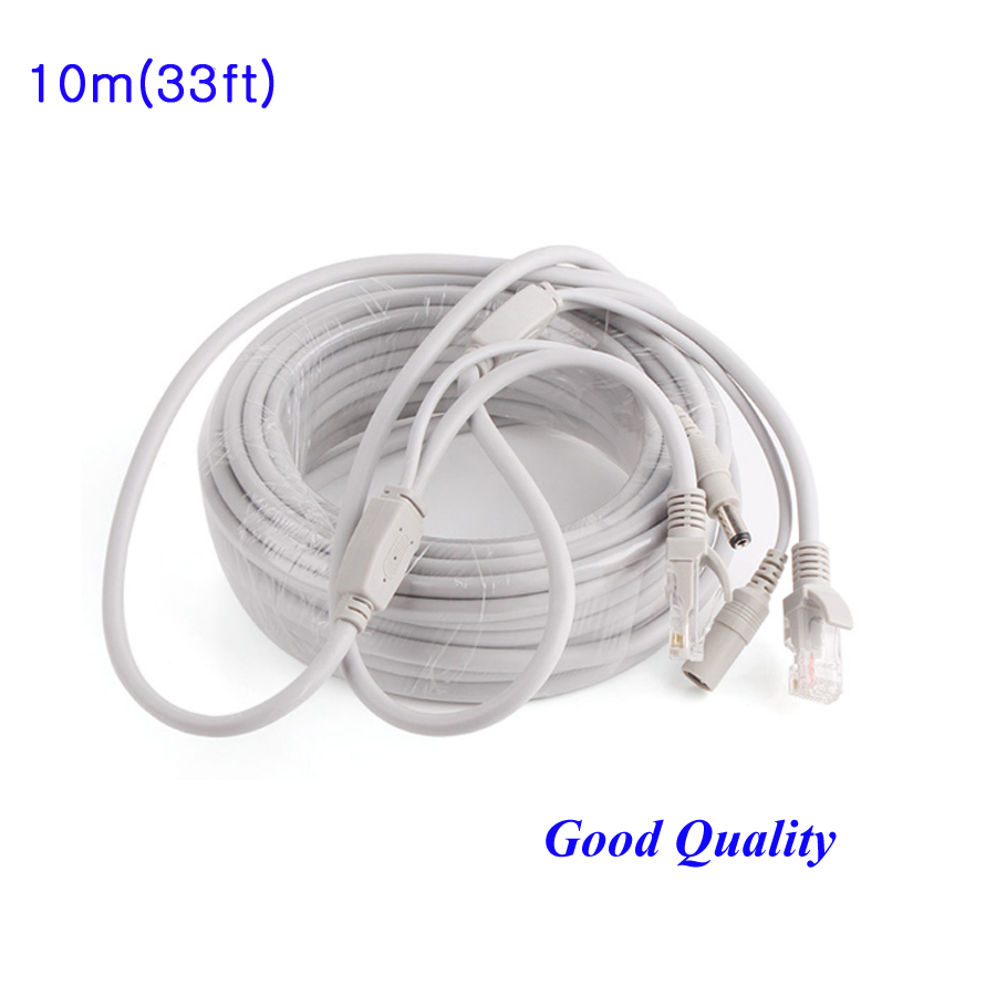 High quality 10M/33ft CCTV Network Lan Cable RJ45 w DC 12V Power 2.1x5.5mm CAT5/5e Extend Ethernet Cable For CCTV IP Camera NVR