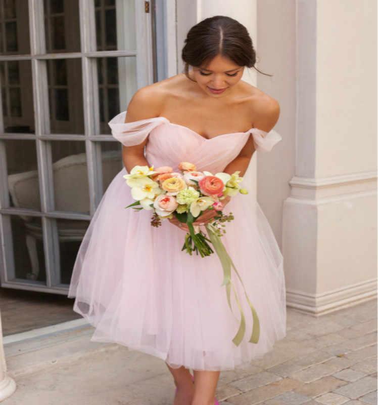 Informal Pink Wedding Dresses Short Tea Length Wedding Gowns Tulle