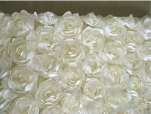Ivory Satin Rosette Fabric, Bridal Wedding Backdrop, Baby Photography Backdrop, Prop, Blanket, 3D Gown Fabric, MF141