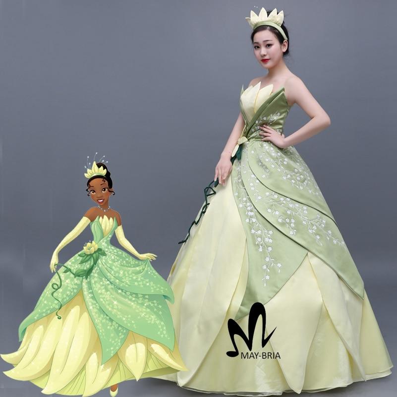 Princess Tiana Outfit: Newest Flower Embroidery Princess Tiana Dress Women Fancy