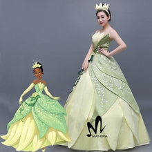 Newest flower Embroidery Princess Tiana Dress women fancy cosplay Halloween Costume custom made Tiana cosplay costume